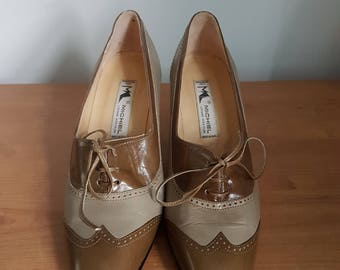 Original 1970s LUCIANO MICHIELON two tone leather brogue court shoes size 36.5 (UK3/3.5)