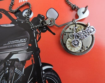 "Man or unisex steampunk jewelry ""Time for the walk in Harley Davidson""."