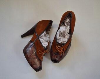 Via Spiga Suede and Snakeskin Peep Toe Heels 7.5M