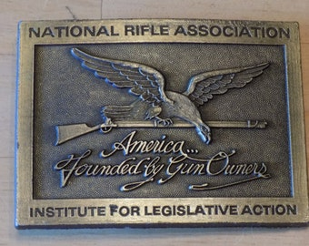 Vintage National Rifle Association Belt Buckle America...Founded by Gun Owners..Institute for Legislative Action