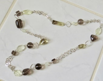Sterling Silver Necklace Smoky and Lemon Quartz Hand Crafted One of a Kind OOAK Original Design