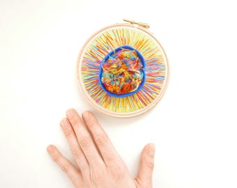 Handstitched mixed-media hoop art (thread and polymer clay) - one of a kind (5')
