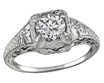Vintage GIA Certified 0.93ct Diamond Engagement Ring