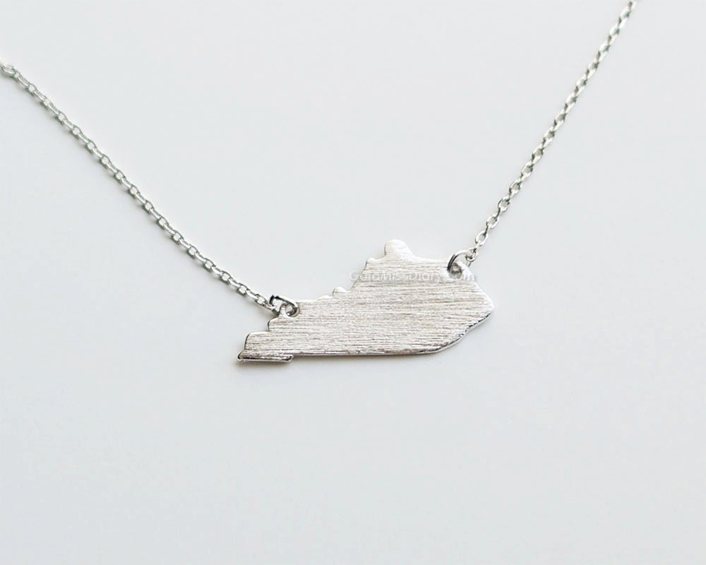 kentucky state necklace in silver ky state gold necklace