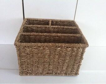 Wicker desk etsy - Divided wicker basket ...