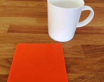 Square Orange Gloss Finish Acrylic Coasters