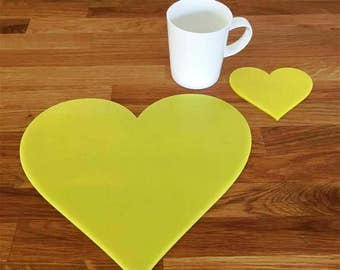Heart Shaped Placemats or Placemats & Coasters - in Yellow Gloss Finish Acrylic 3mm
