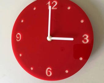 """Round Red & White Clock - White Acrylic Back, Red Finish Acrylic with White hands, Silent Sweep Movement.  Sizes 8"""" or 12"""""""