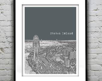Staten Island New York City Skyline Poster Art Print NYC Version 2