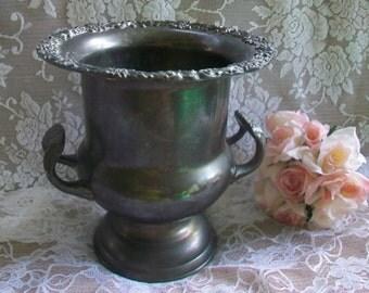 Tarnished Silver Plated Urn, Vase, Champagne Holder, Ice Bucket, Shabby Chic Wedding Decor, Table Centerpiece, Vintage, Rustic Wedding Decor