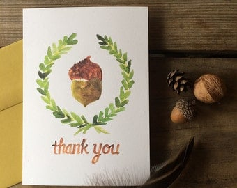 Acorn and Laurel Wreath Thank You Notes -- Watercolor Notecards, Hand Lettering