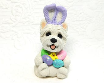 West Highland White Terrier Easter, Westie lover Gift, West Highland Terrier Sculpture Polymer Clay Easter Mini by Raquel at theWRC