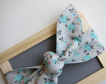 Hair Scarf - Skinny Headband - Grey - Floral - Vintage Inspired - Bow Tie On - Hair Bow - Bandana - retro - womens