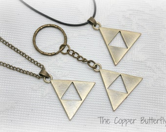 Zelda Triforce Necklace or Keychain  - Legend Of Zelda Inspired Tri Force - Antique Bronze - Cosplay - Video Game - Fandom Jewelry -6140305