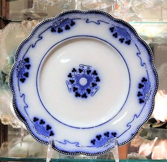 Flow Blue Plate W H Grindley Lorne Staffordshire England Antique 1900s Victorian Art Nouveau Porcelain Country Cottage Home Decor Farmhouse