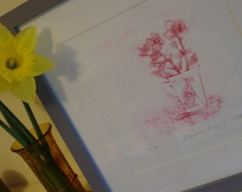 Easter Bunny Limited Edition Drypoint Print Featuring a little Easter Bunny