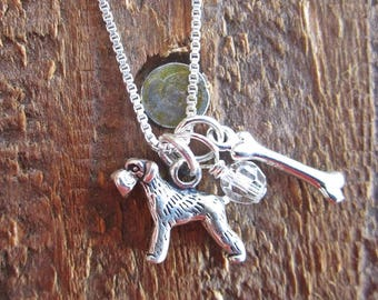Schnauzer Necklace- Mini Dog Bone Sterling Silver Custom Necklace  (Your Choice of Birthstone and Initial)