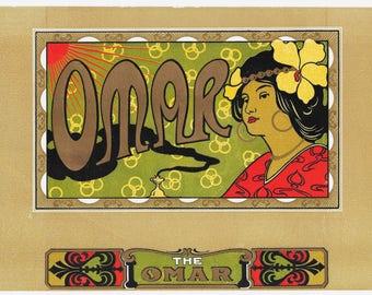 Omar Exotic Lady Cigar Box Label, c. 1900