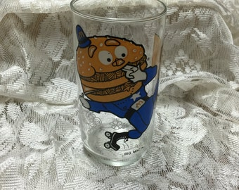 "Vintage ""Hamburglar"" Drinking Soda Glass 1977 McDonaldland Action Series McDonalds Glass  Tall Drinking Glass"