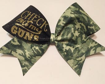 """3in. Camo Cheer Bow with """"Check out my GUNS"""""""