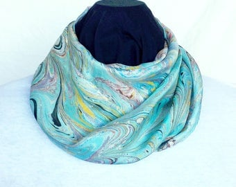 "Aqua Lung Marbled Silk Scarf 11"" x 60"""