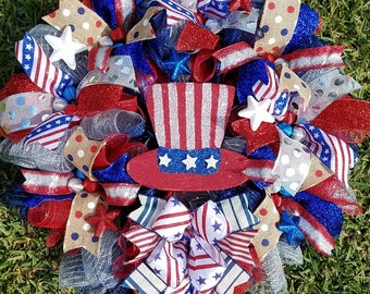 Patriotic Wreath, 4th of July, Red White Blue Wreath,  Front Door Wreath, Labor Day, Memorial Day Wreath,