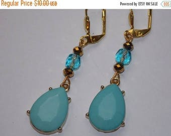 15%OFF Aqua Blue Teardrop Dangle Earrings