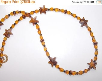 20%OFF Amber Starfish and Amber Teardrop Czech Glass Necklace