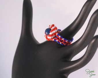 All American Celebration Red White and Blue Woven Ring w/ Lapis Lazuli Center and Seed Bead Band Size 8.5 Beadwork