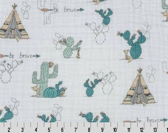 Cactus Double Gauze, Shannon Fabrics Double Gauze, printed gauze, Embrace Double Gauze Cotton, Cotton Muslin Swaddle Fabric, 100% cotton