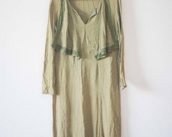 Vintage Green 1920s Dress || Downton Abbey || Long 1920's Tea Dress