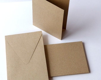 10 rectangular folded cards and envelopes set recycling paper strength paper