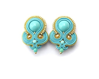 Clip On Earrings, Turquoise and Gold Soutache Earrings, Handmade Jewelry, Soutache Jewelry, Turquoise Earrings for Sensitive Ears