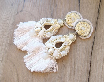 Bridal Earrings Clip-On, Tassel Earrings, Soutache Earrings, Large Earrings, Big Bridal Earrings, Long Earrings, Wedding Jewelry