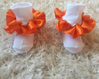 Fancy Orange ruffle socks, frilly orange ruffle socks, pageant orange ruffle socks