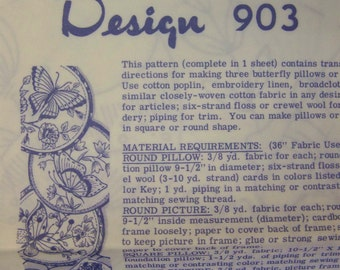 Vintage 1960s Laua Wheeler Mail Order 903 BUTTERFLIES embroidery Transfer Pattern UNUSED