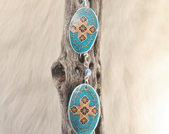 Pysanky Egg Shell Earrings, Southwest Cross on Turquoise, Swarovski Jewel, Surgical Steel Wire
