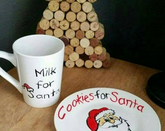 Personalized Santa saucer and milk mug , cookies for Santa plate, Christmas gift idea