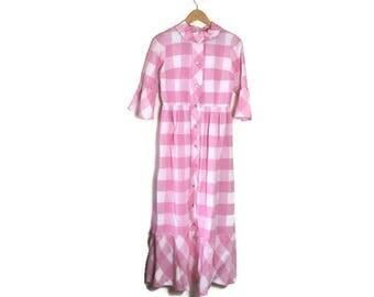 Pink white gingham maxi dress / as seen in fashion week / pink checked long cotton dress / 50s 60s long dress / pink ruffle dress / pastels