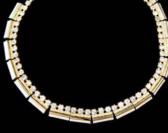 Kramer NY Rhinestone Necklace Articulated Panel