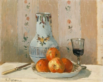 """Camille Pissarro : """"Still Life with Apples and Pitcher"""" (1872) - Giclee Fine Art Print"""
