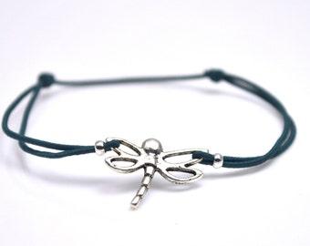 Dragonfly bracelet dark blue cord