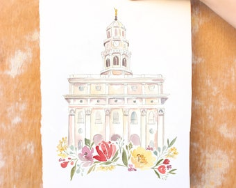 Nauvoo LDS Temple Watercolor Print