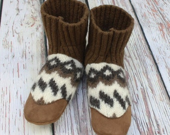 Mens slippers 9-10 US ~ Alpaca wool and leather Slippers - Eco friendly - One Pair available