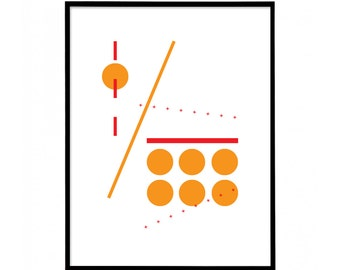 Red & Orange - Two Colour - Minimal Geometric Abstract Print