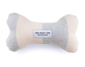 Upcycled Denim Wide Stripe Dog Bone Toy Squeaker Chew Toy Gift