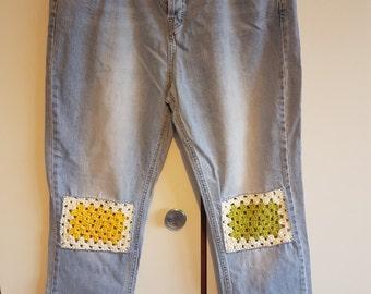 Crochet patch jeans size 14