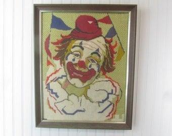 Vintage Cross Stitch,Clown Picture, Mid Century Art,OOAK , Clown,framed picture,needlepoint,circus, clown, Original Art Work, folk art,