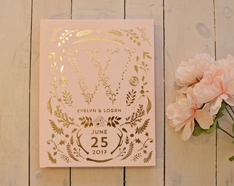 Pink & Gold Foil Wedding Guest Book • Rose Gold Custom Monogram Guest Book • 8 x 10