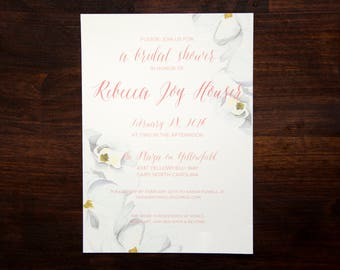 Magnolia Floral Bridal Shower Invitation